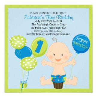 Bright Smash Cake Boy's First Birthday Invitation