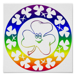 Bright Smiling Irish Clover Rainbow Hues Print