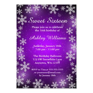 Bright Snowflake Purple Winter Wonderland Sweet 16 5x7 Paper Invitation Card
