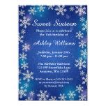 Bright Snowflakes Blue Winter Wonderland Sweet 16 4.5x6.25 Paper Invitation Card