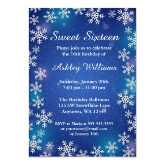 Bright Snowflakes Blue Winter Wonderland Sweet 16 4.5x6.25 Paper Invitation Card