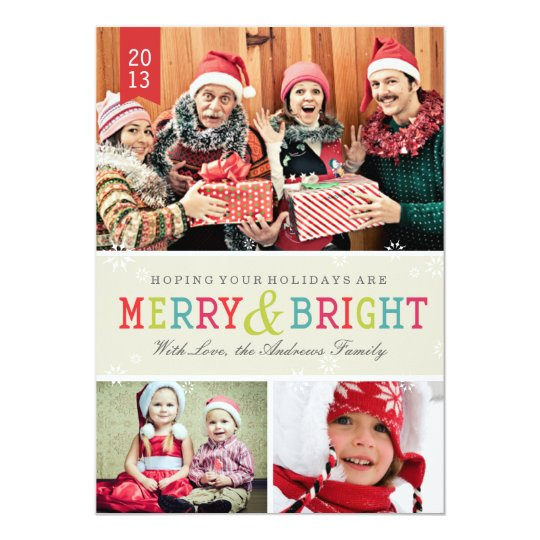 Bright Snowflakes by Origami Prints Photo Card