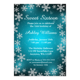 Bright Snowflakes Teal Winter Wonderland Sweet 16 4.5x6.25 Paper Invitation Card