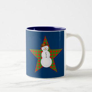 Bright Snowman Design on Tshirts, Mugs, Gifts Two-Tone Coffee Mug