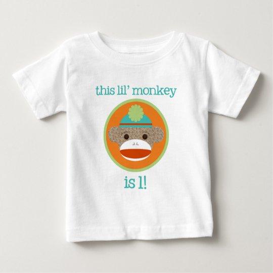 Bright Sock Monkey: First Birthday Baby T-Shirt