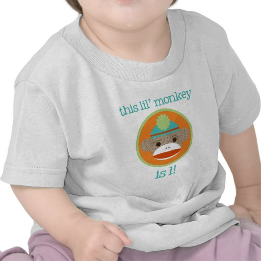 Bright Sock Monkey: First Birthday T-shirt