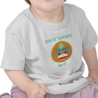 Bright Sock Monkey: First Birthday T-shirt