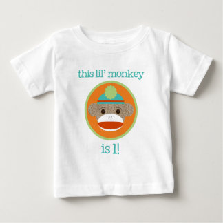 Bright Sock Monkey: First Birthday T Shirts
