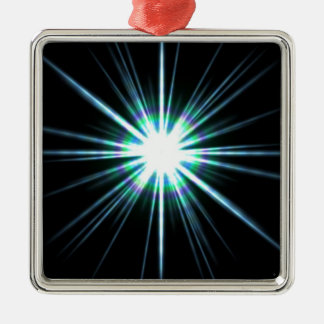 Bright Solar Flare Burst Metal Ornament