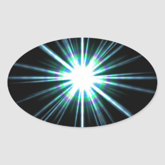 Bright Solar Flare Burst Oval Sticker