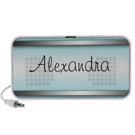 Bright & Sophisticated Aqua Blue Doodle Speaker
