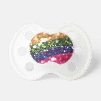 Bright Sparkle Glitter Rainbow Art Designer Pacifier