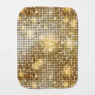 Bright sparkling golden sequin glitters disco ball baby burp cloth