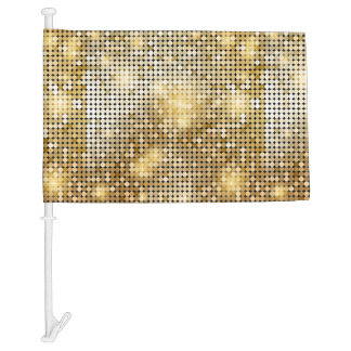 Bright sparkling golden sequin glitters disco ball car flag