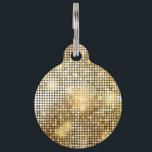 "Bright sparkling golden sequin glitters disco ball pet ID tag<br><div class=""desc"">Bright sparkling golden sequin glitters disco ball</div>"