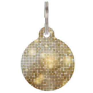 Bright sparkling golden sequin glitters disco ball pet ID tag