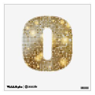 Bright sparkling golden sequin glitters disco ball wall sticker