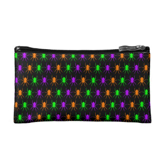 Bright spiders pattern on black cosmetic bag