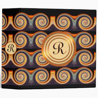 Bright Spiral Pattern Monogram 2 inch Binder