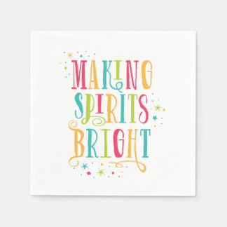 Bright Spirits Colorful Holiday Cocktail Napkin