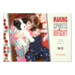 Bright Spirits Flat Holiday Photo Card Personalized Invite