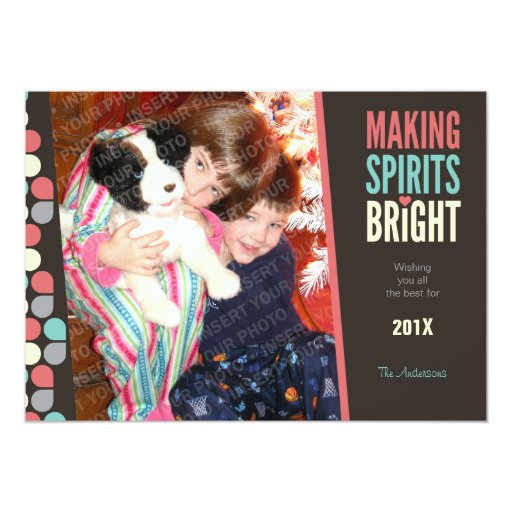 Bright Spirits Flat Holiday Photo Card Personalized Invites