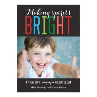 Bright Spirits Holiday Photo Cards Personalized Invitation
