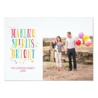 Bright Spirits Modern Holiday Photo Card