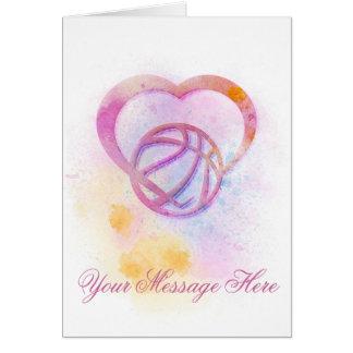 Bright Splatter Basketball Heart Greeting Card
