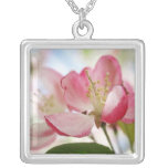 Bright Spring Apple Blossoms Square Pendant Necklace