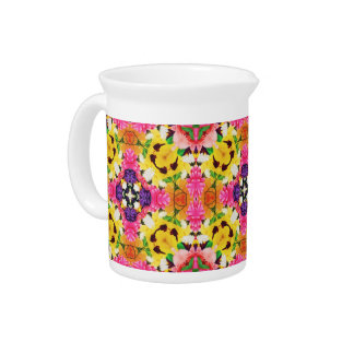 Bright Spring Bouquet of Flowers Drink Pitcher