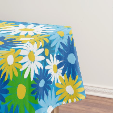 Bright spring daisies 70s style tablecloth