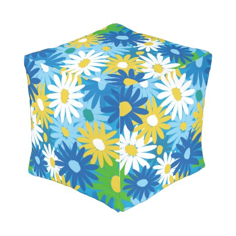Bright spring daisies outdoor pouf