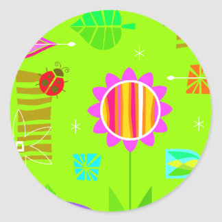 Bright Springy Pattern Classic Round Sticker