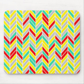 Bright Staggered Chevron Modern Geometric Pattern Mouse Pads