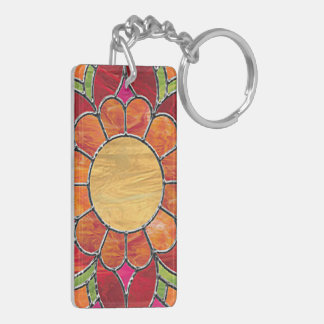 Bright Stained Glass Style Flower Acrylic Keychain