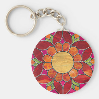 Bright Stained Glass Style Flower Keychain