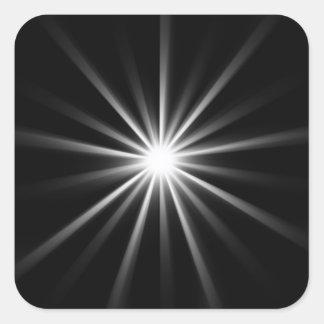bright star in dark space square sticker