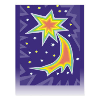 Bright Star in Purple Sky Greeting Cards