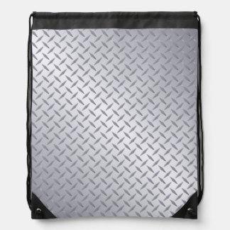 Bright Steel Diamond Plate Background Drawstring Backpack