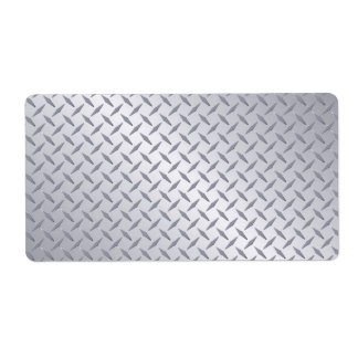 Bright Steel Diamond Plate Background Label