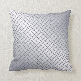 Bright Steel Diamond Plate Background Throw Pillow
