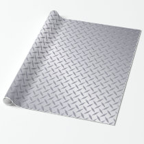 Bright Steel Diamond Plate Pattern Wrapping Paper