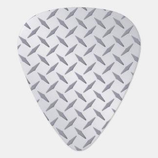 Bright Steel Diamondplate Look Guitar Picks