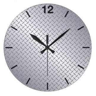 bright steel pattern large clock