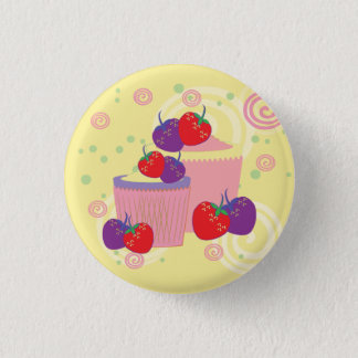 Bright Strawberries And Cupcakes Art Button