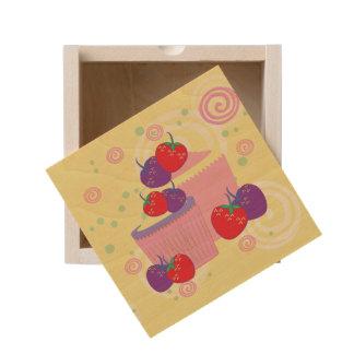 Bright Strawberries And Cupcakes Art Wooden Keepsake Box