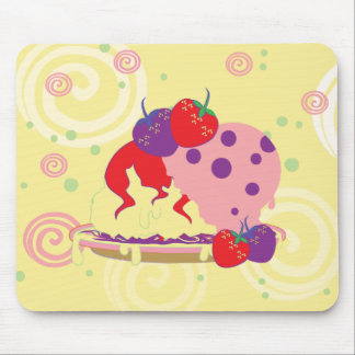 Bright Strawberries And Ice Cream Art Mouse Pad