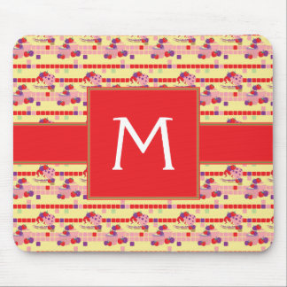 Bright Strawberry Sweet Treats Pattern - Initial Mouse Pad