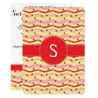 Bright Strawberry Swirl Chevron Pattern - Initial Card